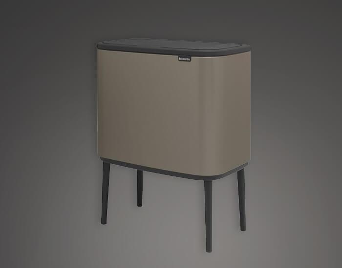 פח מעוצב למטבח 36 ליטר אפור brabntia